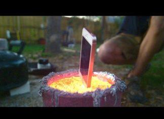 iPhone σε λιωμένο αλουμίνιο