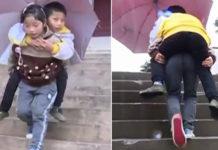 9χρονη Κινεζούλα, κουβαλάει τον ανάπηρο αδερφό της κάθε μέρα στο σχολείο..