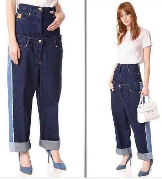 διπλό γυναικείο jean παντελόνι